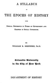 Cover of: A syllabus of the epochs of history with special reference to forms of government and changes in social conditions