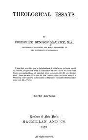 Cover of: Theological essays | Frederick Denison Maurice