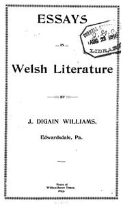 Cover of: Essays in Welsh literature | John Digain Williams
