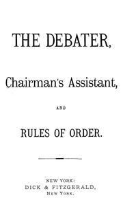 Cover of: The debater, chairman