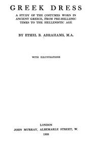 Cover of: Greek dress by Ethel Beatrice Abrahams