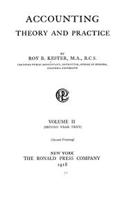 Cover of: Accounting theory and practice ... | Roy Bernard Kester