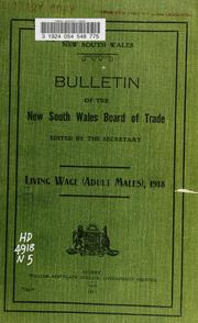 Cover of: Living wage (adult males), 1918 | New South Wales. Board of Trade.