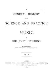 Cover of: A general history of the science and practice of music | Hawkins, John Sir