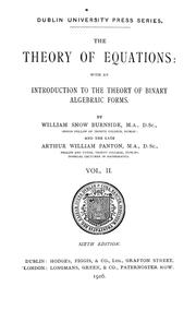 Cover of: The theory of equations by Burnside, William Snow