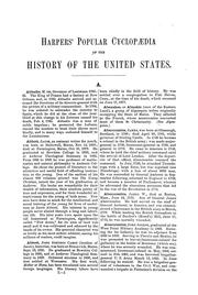 Cover of: Harpers' popular cyclopædia of United States history from the aboriginal period