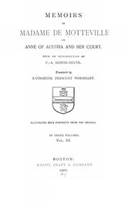 Cover of: Memoirs of Madame de Motteville on Anne of Austria and her court. | Françoise de Motteville