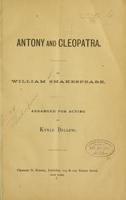 Cover of: Antony and Cleopatra | William Shakespeare