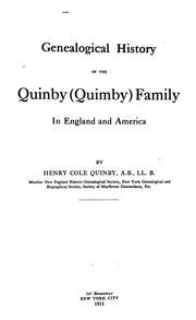Cover of: Genealogical history of the Quinby (Quimby) family in England and America by Henry Cole Quinby
