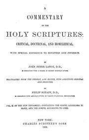Cover of: commentary on the Holy Scriptures: critical, doctrinal, and homiletical | Johann Peter Lange