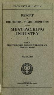 Cover of: Food investigation | United States. Federal Trade Commission.