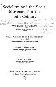 Cover of: Socialism and the social movement in the 19th century