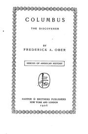 Cover of: Columbus, the Discoverer | Frederick Albion Ober