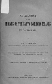Cover of: An account of the Indians of the Santa Barbara Islands in California