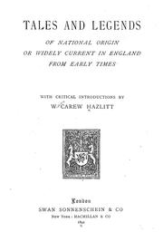 Cover of: Tales and legends of national origin or widely current in England from early times