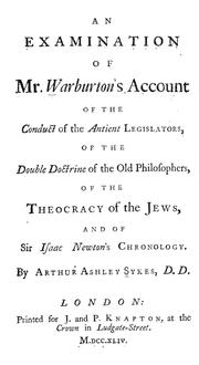 Cover of: An examination of Mr. Warburton's account of the conduct of the antient legislators