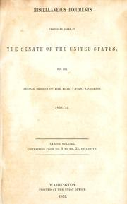 Cover of: Miscellaneous documents | United States. Congress. Senate