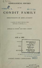 Cover of: Genealogical record of the Condit family | Jotham Halsey Condit