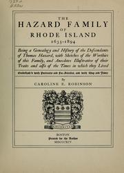 The Hazard family of Rhode Island 1635-1894