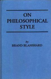 On philosophical style by Blanshard, Brand
