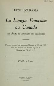 Cover of: La Langue fançaise au Canada