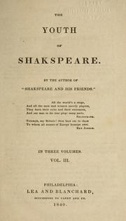 Cover of: The youth of Shakspeare | Williams, Robert Folkestone
