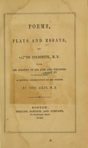 Cover of: Poems, plays and essays | Oliver Goldsmith