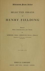 Cover of: Selected essays of Henry Fielding |