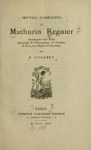 Cover of: Oeuvres complètes de Mathurin Regnier