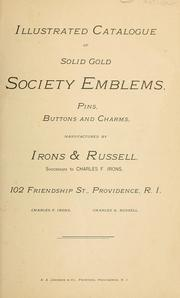 Cover of: Illustrated catalogue of solid gold society emblems, pins, buttons, and charms. |