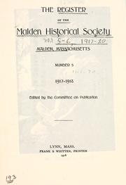 Cover of: The register of the Malden Historical Society |