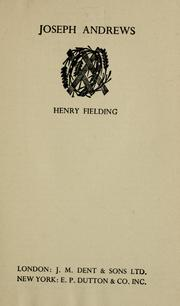 History of the adventures of Joseph Andrews by Henry Fielding