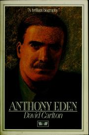 Cover of: Anthony Eden | David Carlton