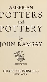American potters and pottery by Ramsay, John