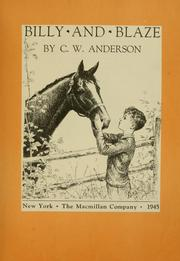 Cover of: Billy and Blaze | C. W. Anderson