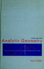 Cover of: Analytic geometry | Paul Klein Rees