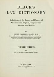 Cover of: Black's law dictionary | Henry Campbell Black