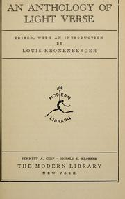 Cover of: An anthology of light verse | Louis Kronenberger