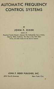 Cover of: Automatic frequency control systems by John Francis Rider