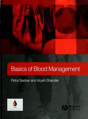 Cover of: Basics of blood management | Petra Seeber