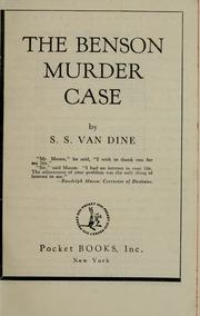 Cover of: The Benson murder case | S. S. Van Dine