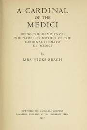 Cover of: A Cardinal of the Medici | Hicks Beach, William Mrs.