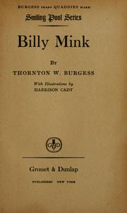 Cover of: Billy Mink | Thornton W. Burgess