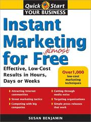 Cover of: Instant Marketing for Almost Free | Benjamin, Susan
