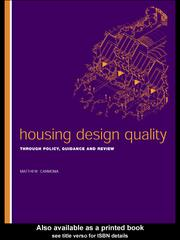 Cover of: Housing Design Quality | Matthew Carmona