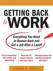Cover of: Getting back to work | Linda K. Rolie