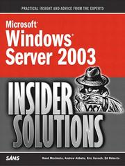 Cover of: Microsoft Windows Server 2003 Insider Solutions | Rand Morimoto