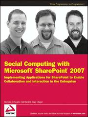 Cover of: Social Computing with Microsoft SharePoint 2007 | Brendon Schwartz
