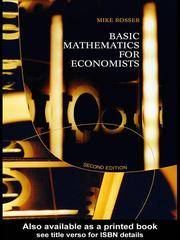 Cover of: Basic Mathematics for Economists | Mike Rosser