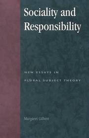 Cover of: Sociality and Responsibility | Margaret Gilbert